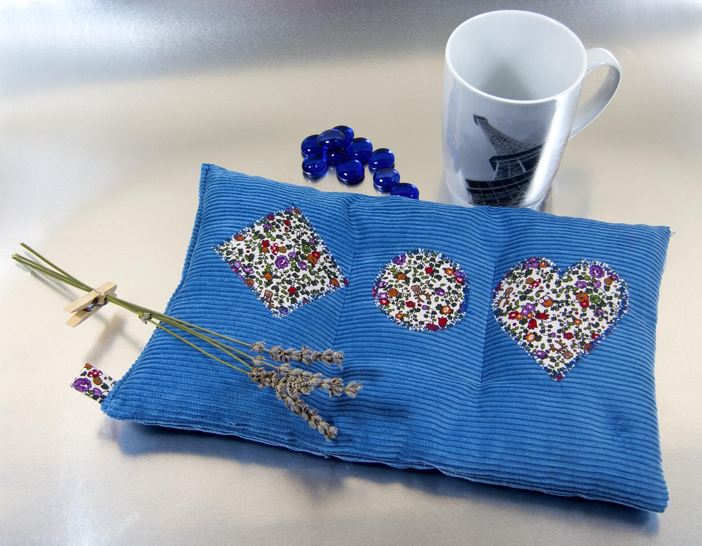 Saquito térmico Azul con perlas de cristal azul